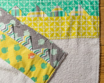 "Pair of handmade cotton towels. ""Prairie Points"" Handmade by seller. Free UK P&P"
