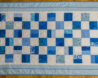 "Handmade patchwork toddler quilt ""Blue hues"". Handmade by seller. Free UK P&P"