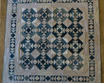 """Handmade Patchwork Quilt """"Feathers and flying geese"""" Handmade by seller. Double bed size."""