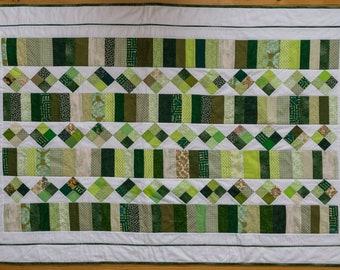 "Handmade patchwork toddler quilt ""Green Shoots"". Handmade by seller. Free UK P&P"