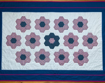"Handmade patchwork toddler quilt ""Grandma's garden"". Handmade by seller. Free UK P&P"