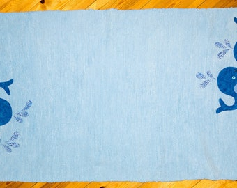 """Handwoven toddler rug """"Whale of a time"""". Handmade by seller. Free UK P&P"""