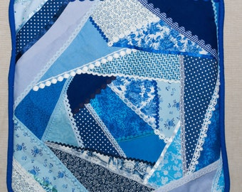 """Handmade Patchwork Cushion """"Blue Lace"""". Handmade by seller"""