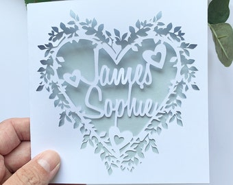 Personalised Floral Heart Papercut Name Card, Wedding Card, Anniversary Card, Thank You Card, Couple Card, Paper Anniversary, Wedding Gift
