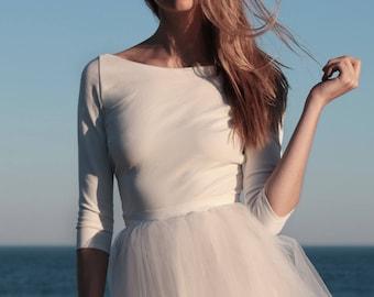 Long sleeves wedding top, bridal separates, wedding dress top, long sleeve bridal top, winter wedding dress – Nandina Top