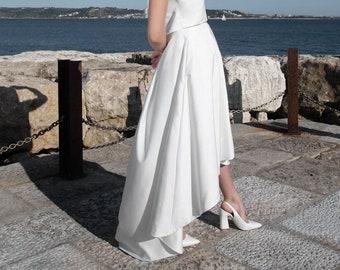 Bridal skirt, high-low hem, wedding simple, civil wedding dress, high waist skirt, casual wedding skirt, bridal separates  - Acacia Skirt