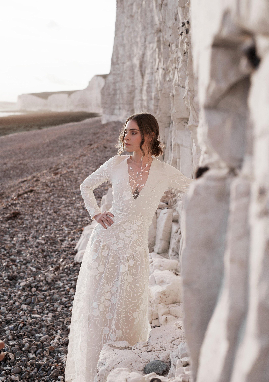 Long Sleeve Wedding Dress Boho Wedding Lace Wedding Dress Winter Wedding Bridal Gown Aline Wedding Dress Rustic Wedding Kalina Dress