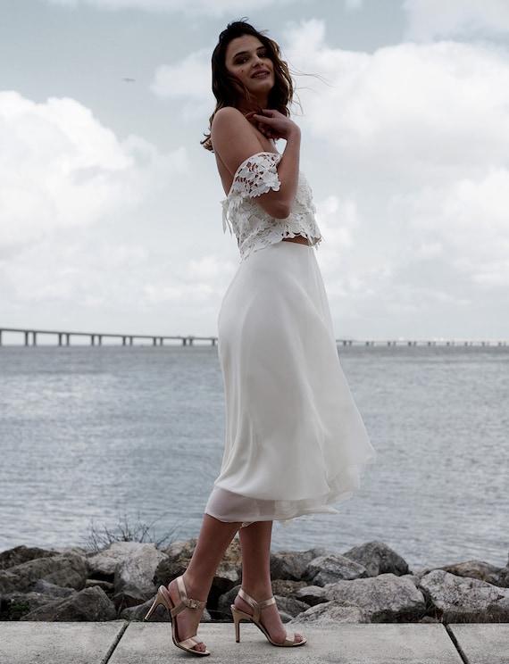 Brautkleid Schlicht Kurz Hochzeitskleid Vintage Spitze Etsy