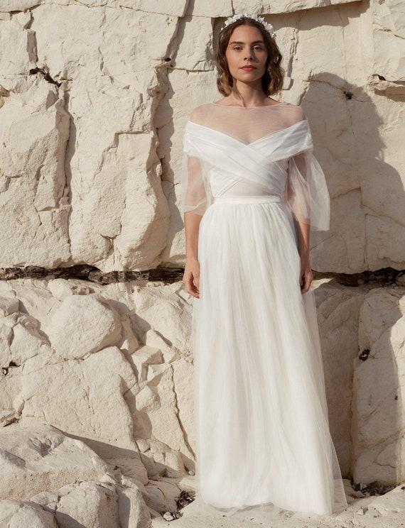 78d72794d Bridal tulle skirt sheer high waist skirt fairy wedding | Etsy