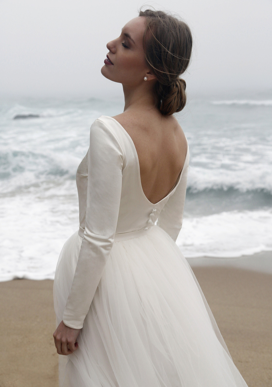 Long Sleeves Bridal Top Silk Top Wedding Wedding Simple Etsy