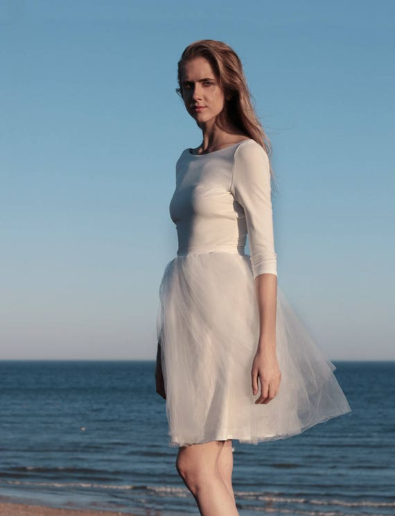 Long sleeve wedding dress tulle skirt alternative wedding