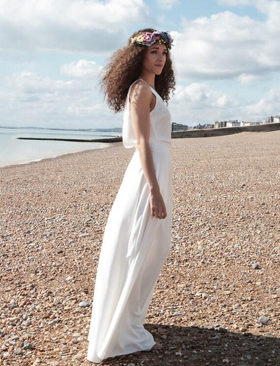 Schlichtes Hochzeitskleid Strandhochzeit Boho Brautkleid Etsy