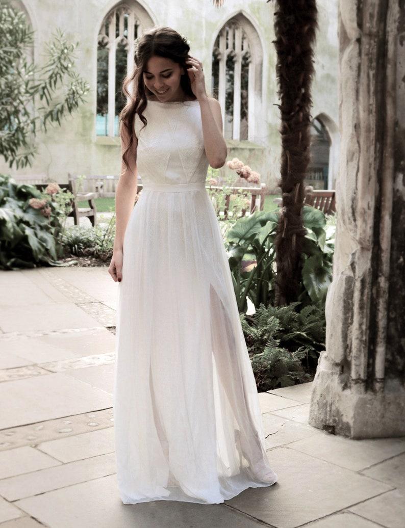 Lace Wedding Dress Boat Neck Rustic Wedding Bridal Gown Wedding Simple Dress Wedding Gown Bohemian Wedding Vintage Vina Dress