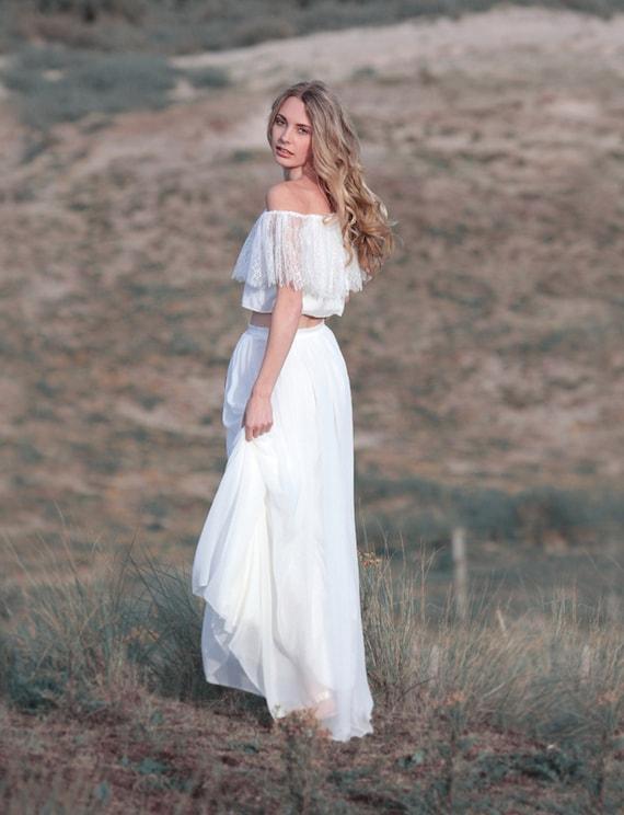 Boho Hochzeitskleid Zweiteilig Brautkleid Spitze Boho Etsy