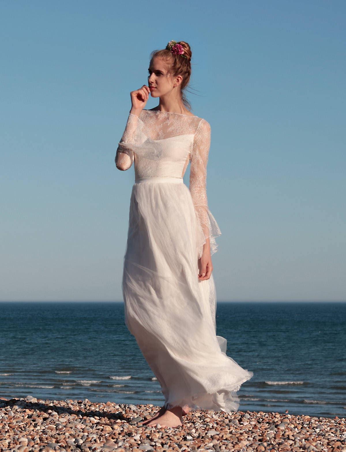 Boho Rock Hochzeit Spitze und Tüll Boho Hochzeitskleid