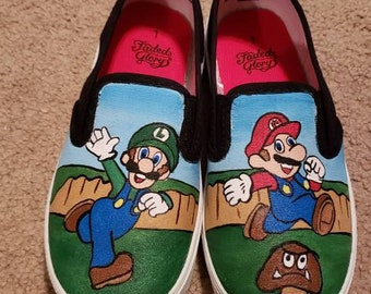 612715fd156 Mario and Luigi Painted Shoes