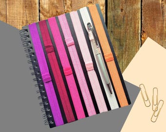 Plain Planner band pen holder, choice of colours, elastic organiser with pencil holder, book page marker holder, gift journal accessories,