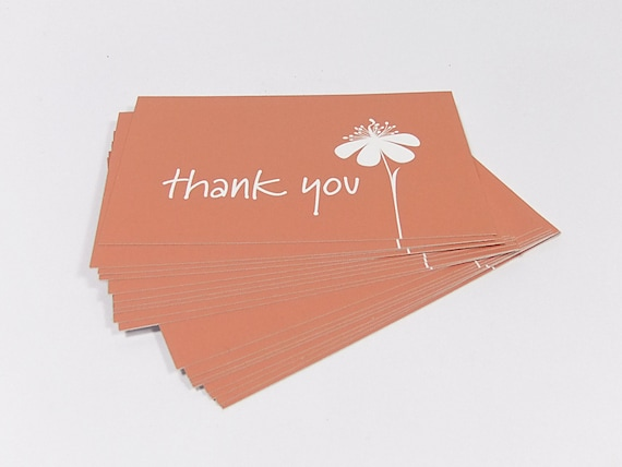 Simple Thank You Mini Cards In Orange Business Card Size