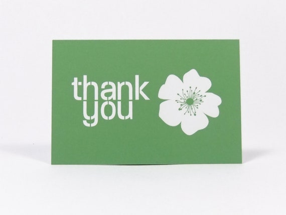 Simple Thank You Mini Cards In Green Business Card Size