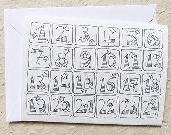Advent calendar, card with numbers, black and white, also for coloring