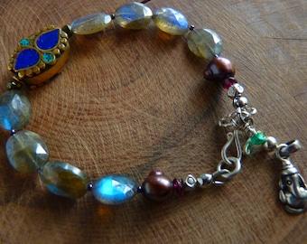 Laboradite Bracelet with charm