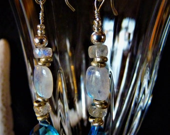 Blue Topaz and Moon Stone Dangle Earrings