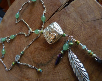 Om Necklace, Sterling Silver, Jade, Silver feather, opal and turquoise accents