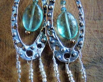 Labradorite, Flourite Earrings in a Sterling Silver setting.