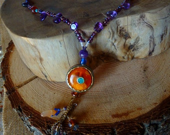 Bohemian Necklace, Amethyst, Purple, Mothers Day Gift, Handmade Amber, turquoise and brass focal bead, crystals