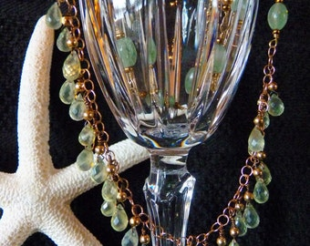 Jade and Prehnite delicate green necklace, Very Dainty, Handmade chain and fringe work.