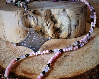 The Chelsy Necklace, Pink Kunzite, Rose Quartz, Pink Coral beads, Pearls, Has a Silver evil eye pendant, silver chain