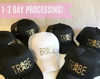 731573b715442 Free Shipping Bride Tribe Trucker Hats- Bacheloretty Party Hats Bridesmaid Hat  Squad