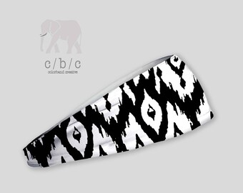 IKAT Headband, Black and White Yoga Headband, Fitness Headband, Running Headband, Indie Headband, Custom Headband, Adult Headband