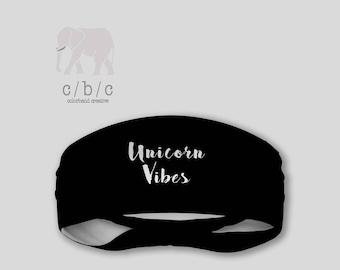 Unicorn Vibes Headband, Black Headband, Thin Headband, Yoga Headband, Fitness Headband, Custom Headband, Indie Headband, Bohemian Headband