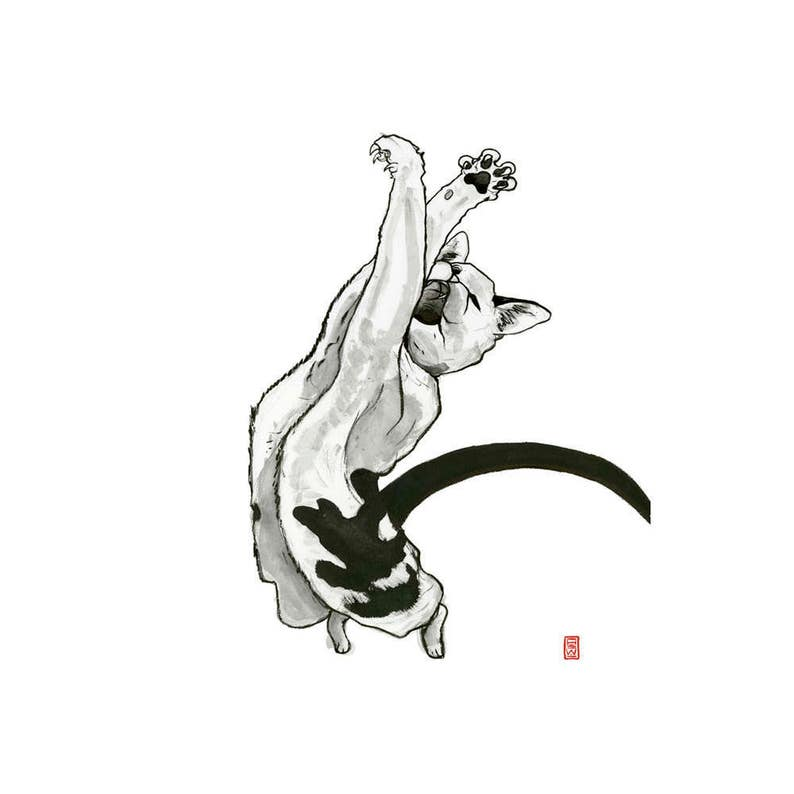 Cat  Black and White  Outline  Fine Art Print  Giclee  Japanese Ink Pen  Yokai Illustration  Wild  Free  Flying