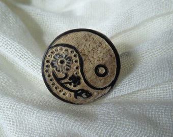 Long Island-New York Collection-Flower/yin and yang-stand adjustable button ring in 925 Silver