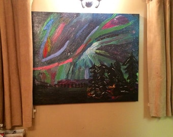 Abstract Landscape Oil Painting On Canvas - Northern Lights XXL