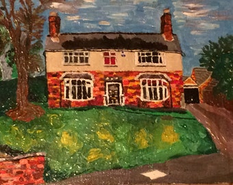 Contempary Custom Art Of House With Thick Textured High Quality Oils On Canvas