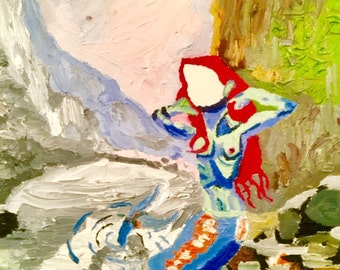 """Contemporary Art Painting Oil On Canvas """"The Mermaid With No Face"""""""