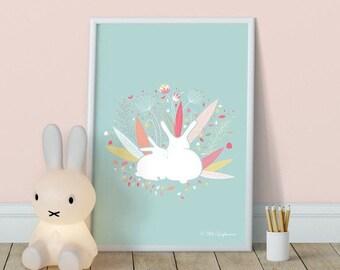 Spring bunnies poster