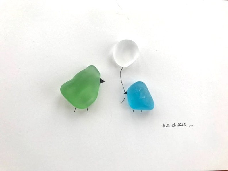 Two Birds and Balloon Glass Art