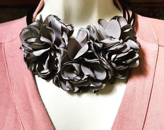 Flower Necklace Black Silk Necklace Filigree Flower Choker Rat Tail Necklace  Filigree Pendant Silk Floral Necklace Ethnic Silk Necklace