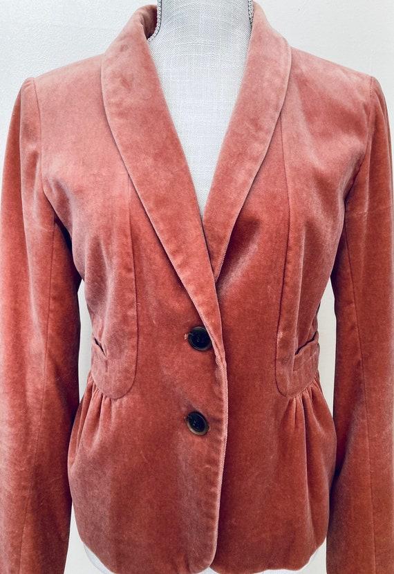 Vintage J Crew Velvet Victorian Jacket, Muted Oran