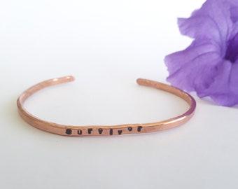 Dainty Copper bracelet - survivor - handstamped - minimalist jewelry