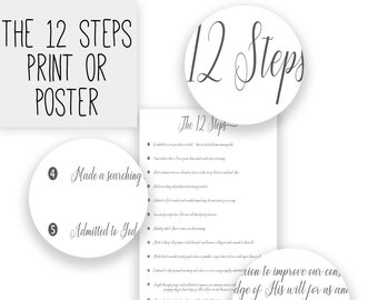 The 12 Steps Poster   AA Recovery Poster   Alcoholics Anonymous   Recovery Print    12 Steps Wall Art   NA AA oa Poster   Recovery Wall Art