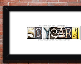50th Birthday Party Decoration Gift Men Customize Idea Personalized Print Wife For Mom PRINTABLE