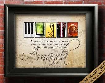 Music Teacher Gift Piano Teacher Gift Music Gift Guitar Teacher Violin teacher Band teacher Music Lover Gifts for Musicians Music Poster JPG