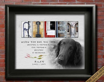 Gift for Dog Memorial gift idea Personalized dog memorial plaque in Memory of Dog Memorial Dog Photo CUSTOM dog Memorial Art Dog Remembrance
