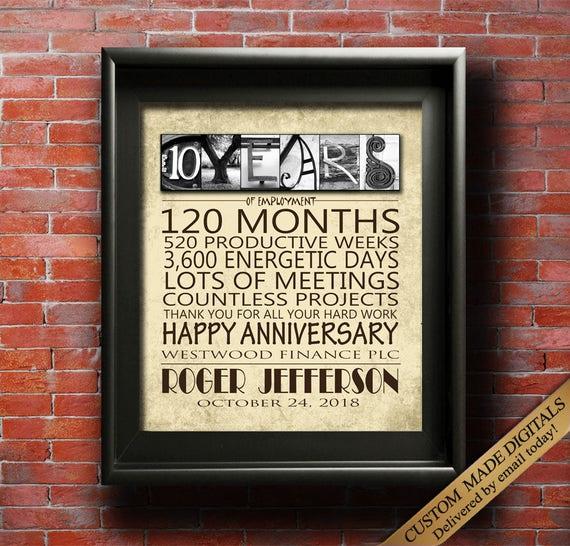 work anniversary gift 10 year 15 year 20 year 25 year 30 year etsy