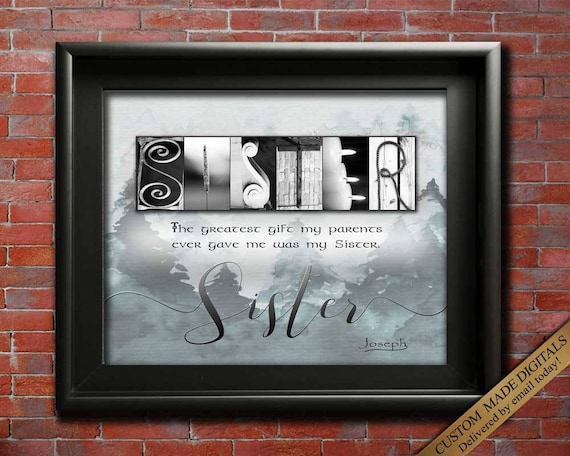 Christmas Gifts For Sister In Law.Sister Gift For Christmas Gift For Sister In Law Gift Sister For Sister From Brother To Sister Christmas Gift For My Sister Wall Art Digital